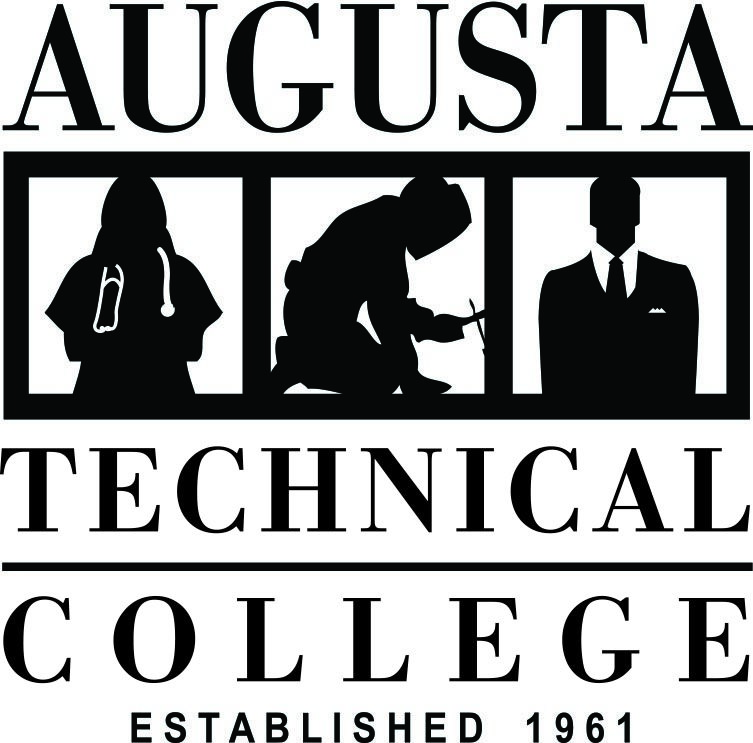 The Augusta Technical College Logo that is black in color.  The logo is a square shape that contains vertical stacking of the words Augusta Technical College Established 1961 in all caps.  The words AUGUSTA and TECHNICAL are separated by a row containing
