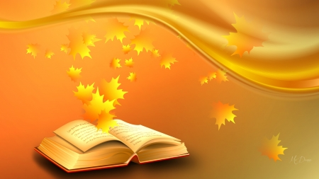 Book open with golden leaves coming from it.